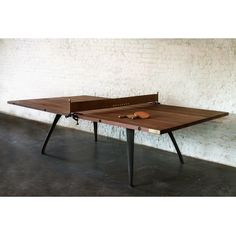 Ping Pong Table Reclaimed Wood by SouthFirstHome | This modernly designed classic game table features solid reclaimed hardwood, is supported by a solid steel frame, and includes real leather detailing