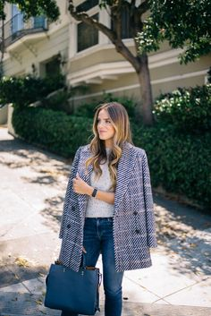 Gal Meets Glam Jumpstart To Fall Theory coat and sweater, Frame denim and Coach bag, c/o