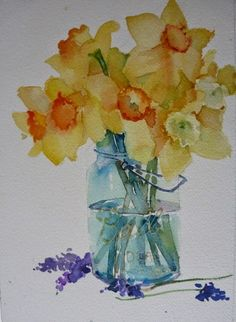 Daffodils in Glass Jar Home