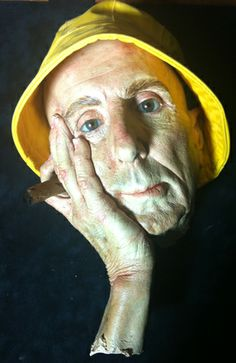 Man With Cigar And Nautical Hat Resin Sculpture by Marc Sijan