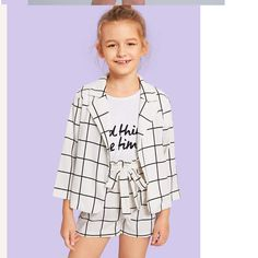 Kiddie Girls White Plaid Notched Collar Coat And Belted Shorts Casual – gagokid Kids Outfits Girls, Cute Girl Outfits, Girls Fashion Clothes, Tween Fashion, Cute Outfits For Kids, Summer Outfits, Casual Outfits, Fashion Outfits, Clothes For Kids Girls