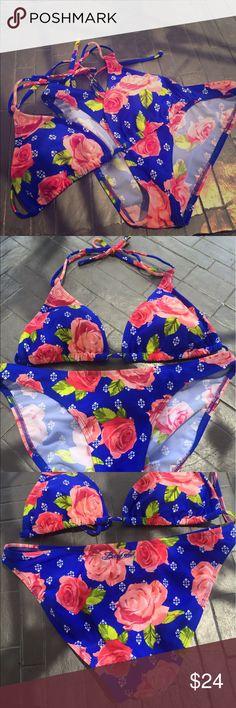 Body Glove Bikini Body Glove Bikini :: Blue with Roses :: Medium Top :: Medium Bottoms :: Top features removable padding for the perfect fit :: Tie string around neck and and back closure :: Barely Worn :: No Visible Signs of Wear, Damage, Staining :: Body Glove Swim Bikinis