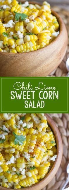 Maybe use chili lime with something else ? Chili Lime Sweet Corn Salad - sweet corn tossed with butter, fresh lime, chili powder, cilantro, and queso fresco. Mexican Food Recipes, Vegetarian Recipes, Cooking Recipes, Healthy Recipes, Sweet Corn Recipes, Sweet Corn Dishes, Cooking Corn, Cooking Pumpkin, Side Dish Recipes