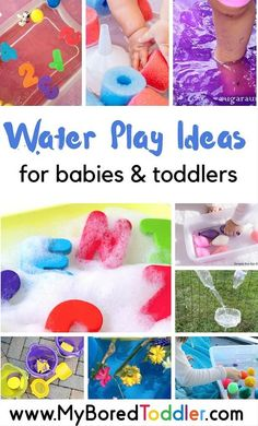 Water Play Activities for Babies and Toddlers. Lots of great water play ideas for summer fun for your baby or toddler. Over 20 great water play ideas! Water Play Activities, Summer Activities For Toddlers, Infant Activities, Preschool Activities, Water Games, Family Activities, Children Activities, Indoor Activities, Educational Activities