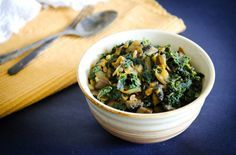 Curried Kale with Portobello Mushrooms; a heart-healthy, spicy dinner for the cold weather! #hypertension