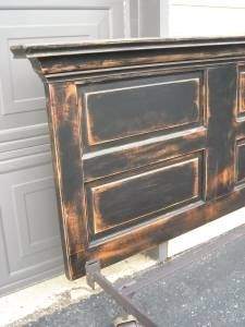 Distressed door headboard black over wood scuffed sanded and stained Old Door Projects, Home Projects, Diy Headboards, Headboard Ideas, Headboard Door, Door Bed, Furniture Makeover, Home Furniture, Restoring Furniture