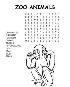 Free Kids Printable Activities: Zoo Animals Word Search - Kids Coloring Pages & Word Puzzles - Kaboose.com