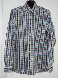 Alan Flusser Golf Long Sleeve Multi-Color Cotton Plaid Casual Shirt Size: L      #AlanFlusser #ButtonFront