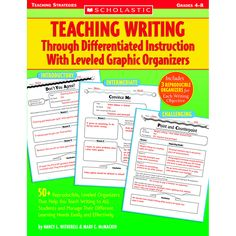 Teaching Writing Through Differentiated Instruction with Leveled Graphic Organizers: Reproducible, Leveled Organizers That Help You Teach Writing to All Students and Manage Their Different Learning Needs Easily and Effectively Writing Lessons, Teaching Writing, Teaching Strategies, Writing Skills, Teaching Resources, Teaching Ideas, Writing Process, Teaching Materials, Writing Ideas