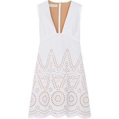 Stella McCartney Aline broderie anglaise cotton mini dress (6.585 BRL) ❤ liked on Polyvore featuring dresses, stella mccartney, vestidos, white, mini dress, white scalloped dress, white sheer dress, short party dresses and party dresses