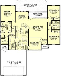 Traditional Style House Plan - 3 Beds 2 Baths 1849 Sq/Ft Plan #430-80 Floor Plan - Main Floor Plan - Houseplans.com