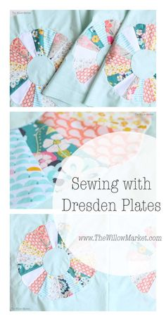 Vintage inspired dresden plate quilt. Bella ruby ice fabric.