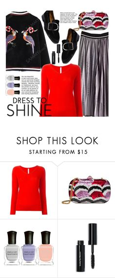 """""""Sweater Weather"""" by beebeely-look ❤ liked on Polyvore featuring PHILO-SOFIE, Gucci, Deborah Lippmann, Bobbi Brown Cosmetics, Sweater, pleatedskirts, sammydress, bomberjackets and wintersweater"""
