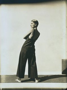 Lee Miller Wearing Yraide Sailcloth Overalls,1930  [this was the first Hoyningen-Huene' work i discovered a while back,and of course it's nowhere to be found in my archives...