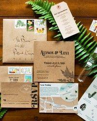 Alyson + Levi's Vintage Botanical Wedding Invitations