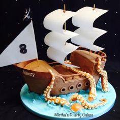 Pirate ship & sea monster cake from Mirthas P-arty Cakes Pirate ship & sea monster cake 284 Source b Cupcakes, Cupcake Cakes, Pirate Ship Cakes, Pirate Boat Cake, Octopus Cake, Pirate Birthday Cake, Nautical Cake, Sea Cakes, Cake Board