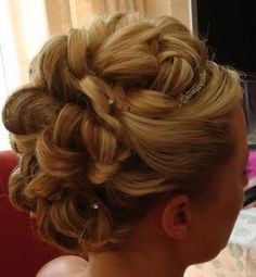 updos for medium length hair | Wedding updo image from the back and side.