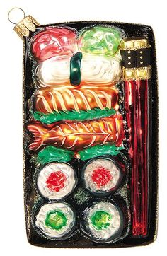 Free shipping and returns on Nordstrom at Home 'Sushi Plate' Handblown Glass Ornament at Nordstrom.com. East meets West this holiday season with a witty and whimsical glass ornament handblown and hand painted to look like a tray of delectable sushi.