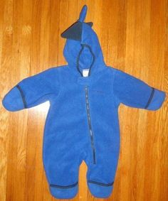 cea47462 Columbia Boys Fleece Snow Suit One piece Bunting Hoodie 6 months Blue