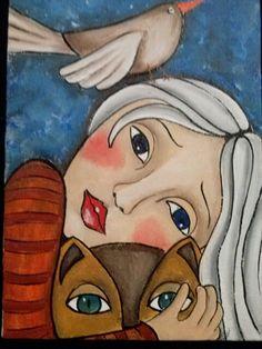 Cat Drawing, Painting & Drawing, She And Her Cat, Illustrations, Illustration Art, Naive Art, Aboriginal Art, Portrait Art, Portraits