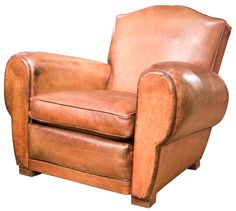 "French Leather Club Chair ""Havana Moustache Model"""