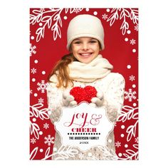 Joy & Cheer. Custom Magnetic Photo Cards. Modern and chic Winter Foliage and Snowflakes design Christmas Magnetic Photo Cards with personalized photo, names and year. Add your picture and text to this Christmas Design and make an unique Holiday gift to friends and family. Matching cards, postage stamps and other products available in the Christmas & New Year Category of the Mairin Studio store at zazzle.com