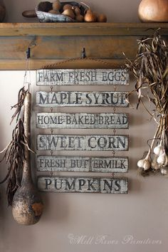 Here is a great antique looking Farm Stand menu wood sign that I will paint for you. The sign is painted in layers of brown and white with black letters and a aged finish. each of the 6 separate signs hang from rusty eye hooks and a rusty chain. I hand paint my all of my signs. No cut stencils are used. *For this sign I will offer other options. I can paint different words, one on each piece of wood to make up the 6 signs. Examples, Beans, Squash, Tomatos, Potatos, Strawberries, an Est Year…