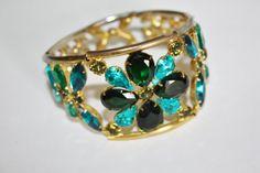 Vintage Bracelet Green Rhinestone Wide Chunky 1970s  by patwatty, $20.00