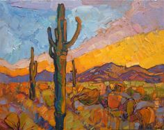 Arizona Saguaros impressionist desert landscape painting by Erin Hanson