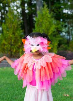 DIY Bird Halloween Costume using Target Girls Tiered Tulle Cape by Cat & Jack