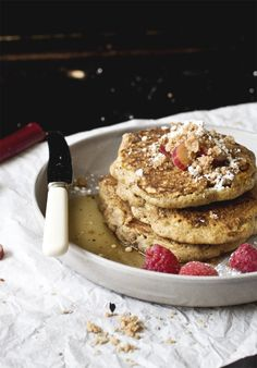 The fluffiest golden buttermilk pancakes riddled with rhubarb and a sweet crumble embedded in the underside of each pancake. Breakfast Bread Recipes, Savory Breakfast, Pancake Breakfast, Breakfast Time, Fall Desserts, Dessert Recipes, Brunch Recipes, Yummy Recipes, Pancakes And Waffles