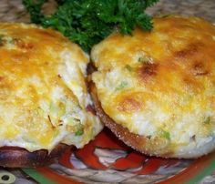 My ds likes these with extra shredded cheese sprinkled over the top before broiling. Crab Cake Recipes, Lobster Recipes, Fish Recipes, Seafood Recipes, Cooking Recipes, Potato Recipes, Dinner Recipes, Crab Dishes, Seafood Dishes