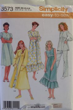 Simplicity 3573 Misses  Nightgown in Two Lengths 6965bf0ed