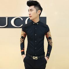 Find More Casual Shirts Information about Recommend Newest Fashion Men Sleeve Print Shirts Business Party Club Casual Shirt Free Shipping CS125,High Quality Casual Shirts from HOTI STYLE on Aliexpress.com