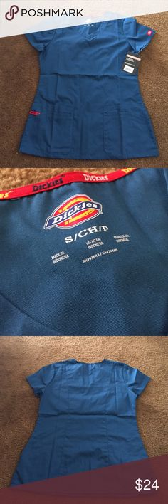 Scrub Top  Caribbean Blue scrub top. Wrong size. Never worn other than to try on. NWT. Junior fit. No trades. Make an offer  Dickies Tops