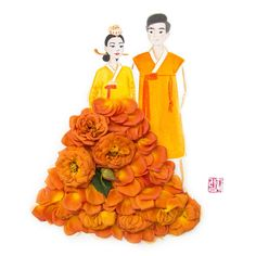 A Korean couple in hanbok, a traditional Korean attire, made of orange spray roses and stamped with my new Korean seal. Korean Couple, Floral Artwork, Spray Roses, Color Themes, Photo And Video, Seal, Disney Princess, Couples, Disney Characters
