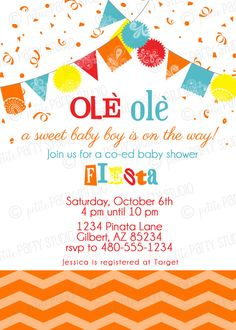 PARTY PRINTABLE - Fiesta Baby Shower or Birthday Invitation - Petite Party Studio
