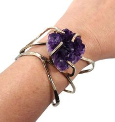 Amethyst geode cuff bracelet  Big unique by InVintageHeaven, $45.00