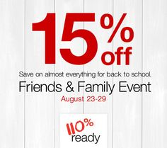 15% off at our Friends and Family event