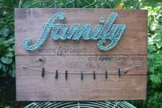 """This """"Family String Art Picture Holder """"sign is a wonderful addition to your home or would make a great gift for a family member, friend, Mehr Nail String Art, String Crafts, String Art Quotes, Resin Crafts, Crafts To Do, Arts And Crafts, String Art Patterns, Picture Holders, Ideias Diy"""
