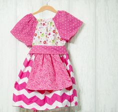 Toddler Girl's Pink Chevron and polka dot by creationsbyjessi