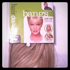 Clip in Bangs - Hair Do - Ken Paves Synthetic clip in bang in golden wheat. Color is seen on the front of the package. Hasn't been used. I bought it thinking I'd use the bangs, but I wound up cutting my hair super short instead :) Ken Paves Other