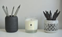 Home office decor, storage, Jo Malone candle