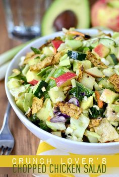 Gluten-free Crunch Lover's Chopped Chicken Salad with Chili-Lime Vinaigrette is a fresh and filling salad that's full of satisfying crunch | iowagirleats.com