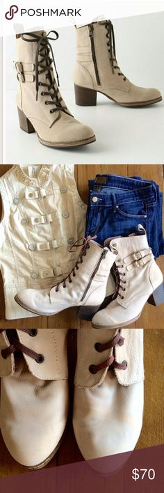 "{Anthropologie} Holding Horses Buckled boots Complete your outfit with these fabulous boots! Lovely cream colored buckled paddock boots by Holding Horses. Leather with a soft suede-like feel to them. 🌟Side zip, leather upper, insole synthetic sole, 2.5"" stacked heel. Made in Spain. Worn inside only. Please note: While being stored one of the boots got a smudge mark on the toe and a faint discoloration (see picture). Priced accordingly. ✏️Size 41 Anthropologie Shoes Heeled Boots"