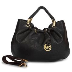 Michael Kors Ring Medium Black Drawstring Bags Outlet