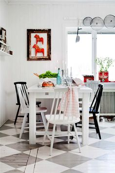 my scandinavian home: Swedish country style with a modern twist. Bright white with swedish horses. Scandinavian Interior, Home Interior, Kitchen Interior, Sweet Home, Floor Design, Home Design, Dining Area, Kitchen Dining, Kitchen Floor