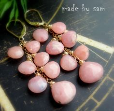 Pink opal earrings http://www.facebook.com/Madebysamfanpage/photos_stream
