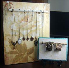 Peacock Tres Chic: exibir jóias DIY feitos com madeira e varas de passador para colares pulseiras ou anéis