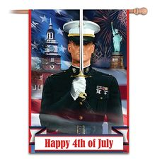 Happy 4th Of July USMC Esprit De Corps Outdoor Flag by The Hamilton Collection